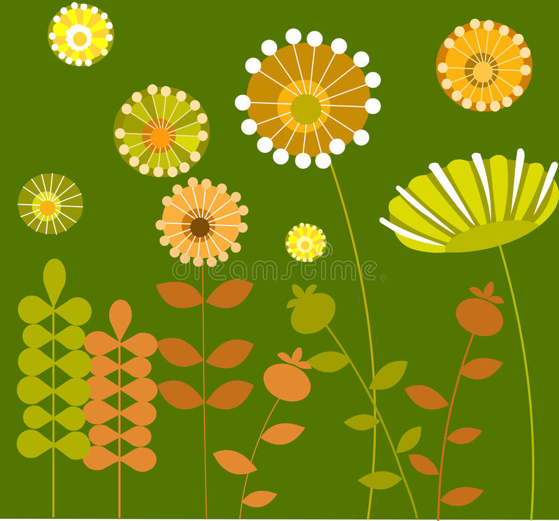Download Abstract Flower Garden With Green Background-1 Stock Vector - Image: 14861296