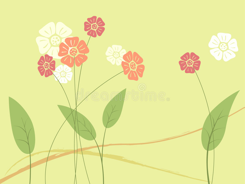 Abstract flower and leaf vector illustration