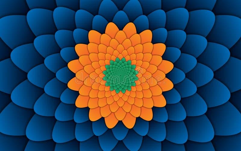 Abstract flower mandala decorative pattern blue background horizontal vector illustration