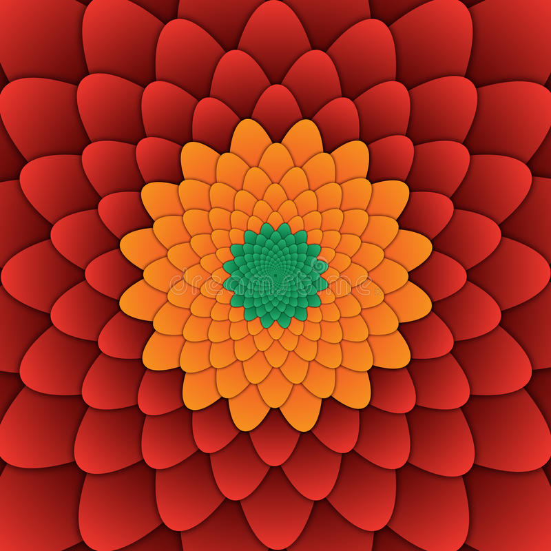 Abstract flower mandala decorative pattern red background square stock illustration