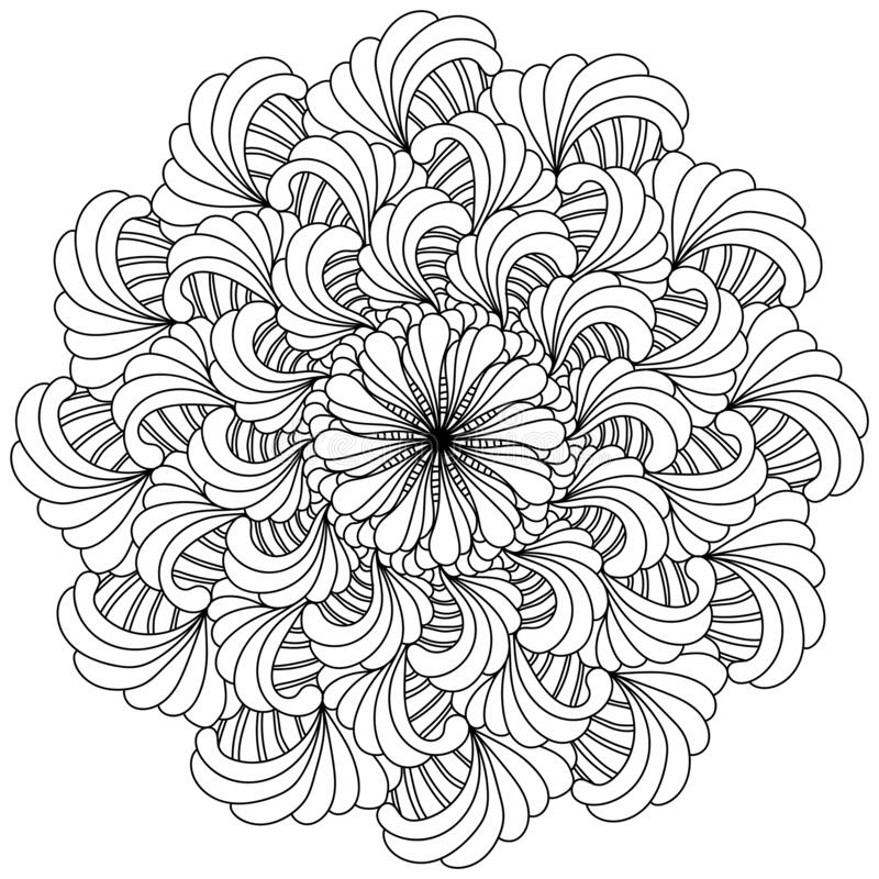 Free Abstract Flower Mandala With Ornate Layered Petals, Meditative Coloring Page With Fan Elements Royalty Free Stock Images - 213459939