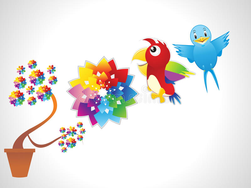 Abstract flower with parrot & bird stock illustration