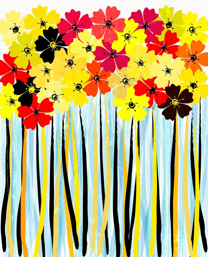 Abstract flower power background, illustration, yellow version vector illustration