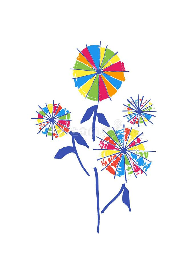ABSTRACT FLOWER. SHAPE WITH MULTICOLORED AND WHITE BACKGROUND royalty free illustration