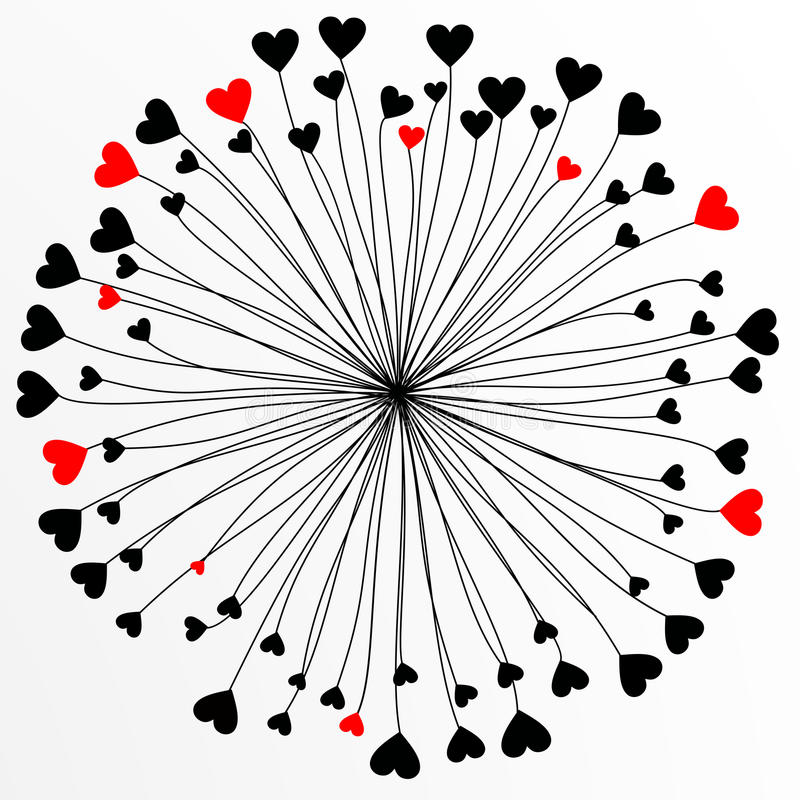 Abstract flower. Vector abstract flower with red and black hearts stock illustration