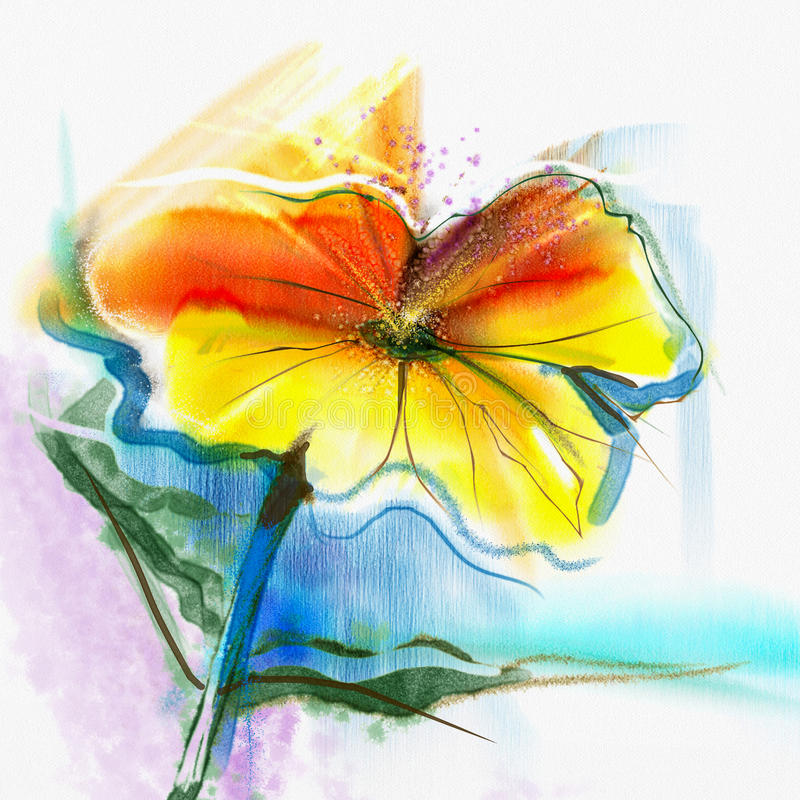 Watercolor Flowers And Paint Brushes: Abstract Flower Watercolor Painting Stock Illustration