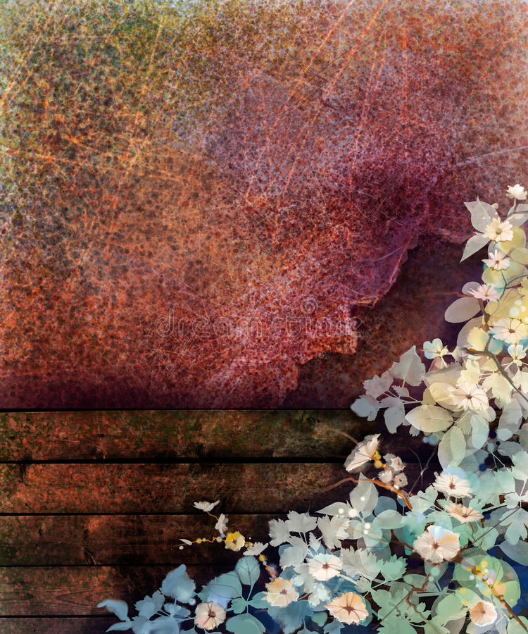 Abstract flower watercolor painting. Hand painted Ivy flowers and leaf on wall and wood fence grunge texture background stock illustration