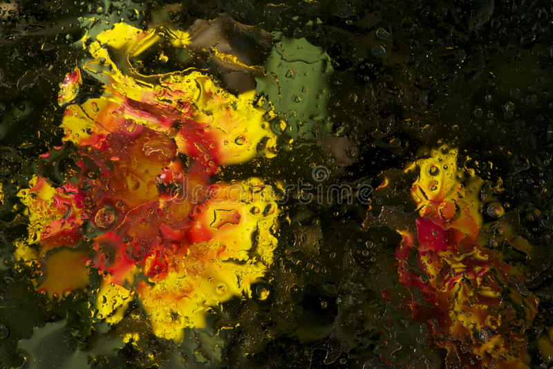 Abstract. Flowers behind a wet sheet of glass created this abstract painting stock photography