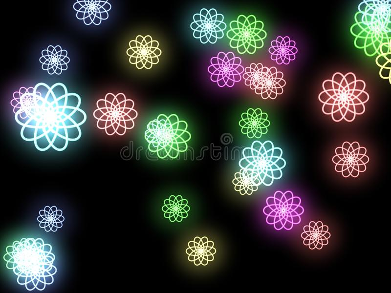 Abstract Flowers On A Black Background Stock Photo