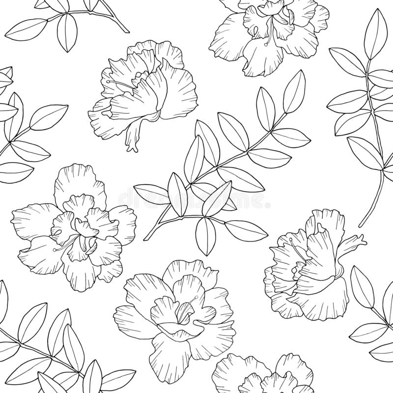 Abstract flowers and branches with leaves. Vector illustration. Seamless pattern. Hand drawn ink illustration in line art style. vector illustration