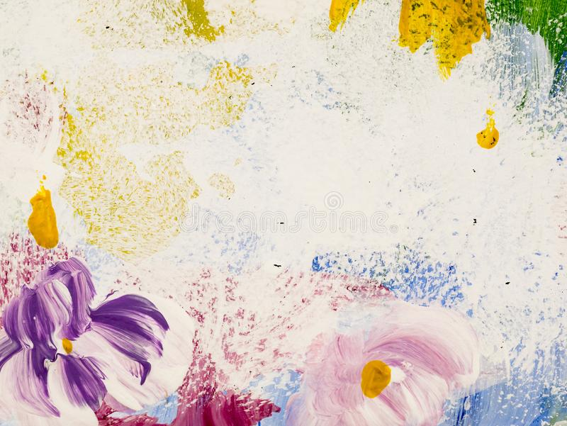 Abstract flowers of acrylic painting on canvas. Creative abstract hand painted background, texture, background, wallpaper royalty free stock images