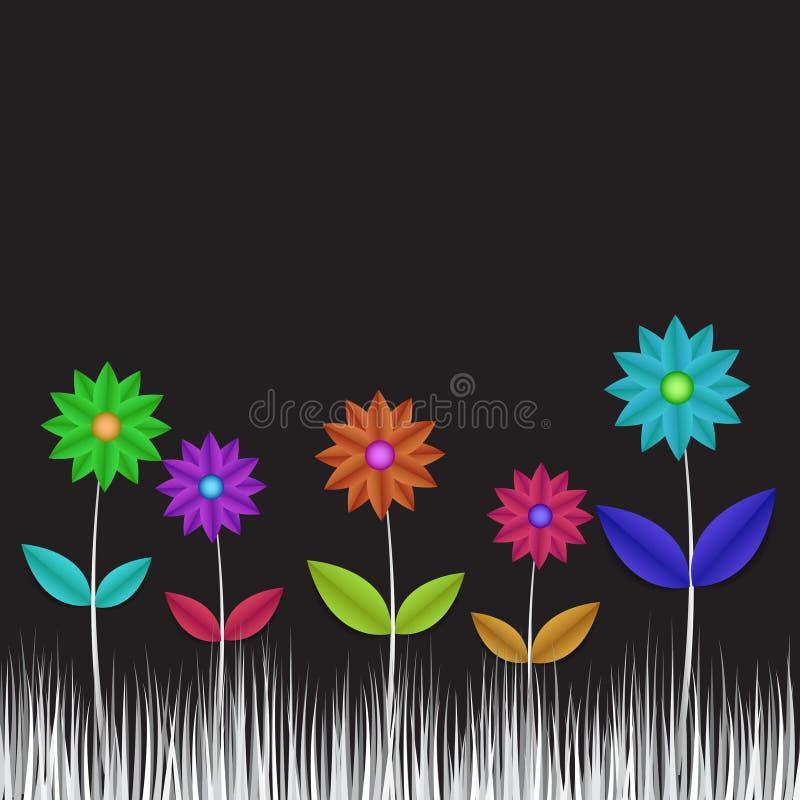 Abstract flowers. On dark bakcground vector illustration