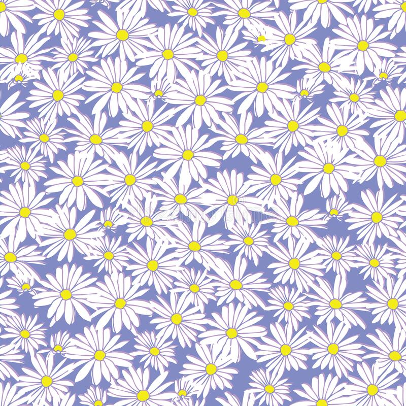 Free Abstract Flowers Hand Drawn Chamomile Blossom Sketch Drawing Seamless Pattern On Purple Background Design Stock Photo - 193257340