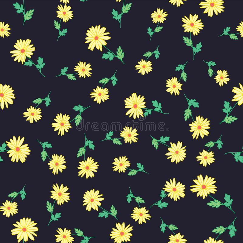 Free Abstract Flowers Hand Drawn Cute Chamomile Blossom Sketch Drawing Seamless Pattern On Navy Background Design Royalty Free Stock Photography - 193257397