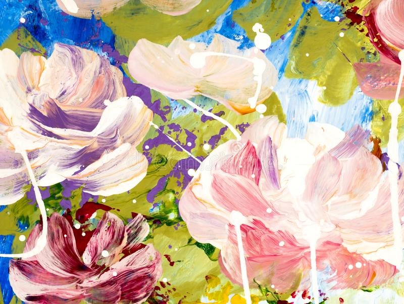 Abstract flowers hand painted background royalty free illustration