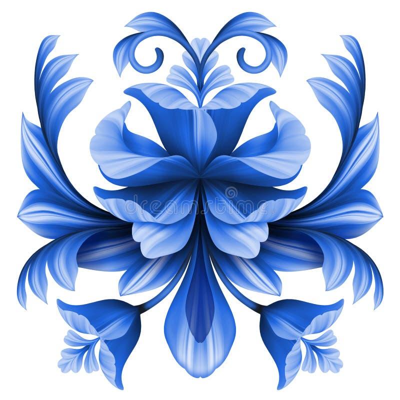 Abstract flowers illustration, blue gzhel floral design element royalty free illustration