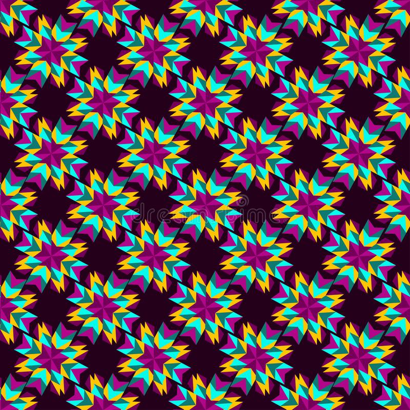 Abstract flowers of orange and violet colors on a dark background. Seamless pattern vector vector illustration