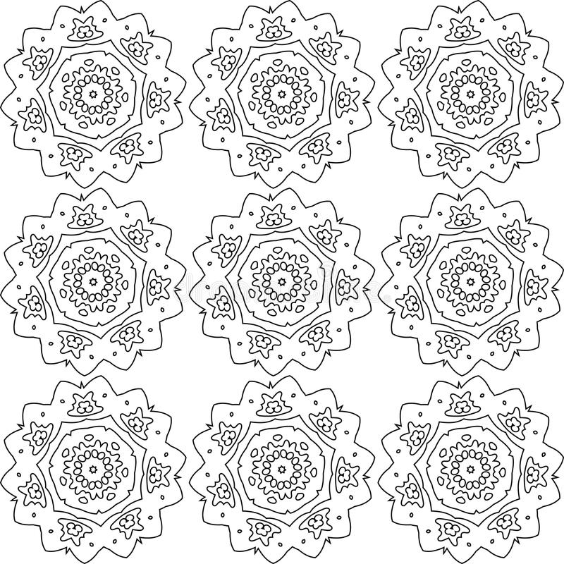 Abstract flowers pattern. Black and white abstract flowers lace print. Digital background vector seamless pattern stock illustration