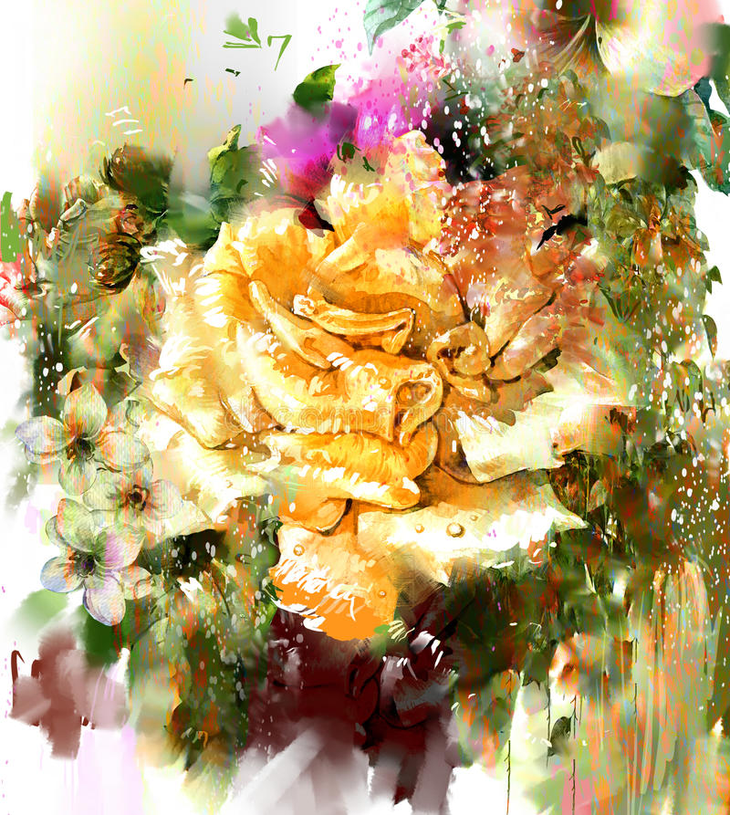 Abstract flowers,rose watercolor painting. Spring multicolored flowers nature royalty free illustration