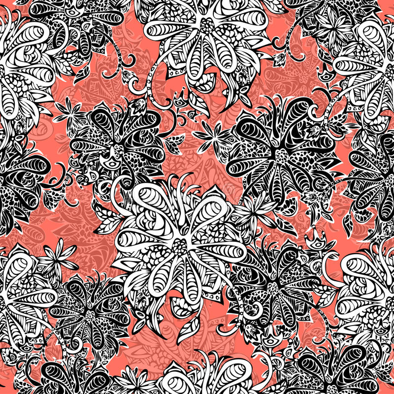 Abstract flowers seamless pattern. Doodle, sketch. Black and white flowers on scarlet background. For fabric design, textile vector illustration