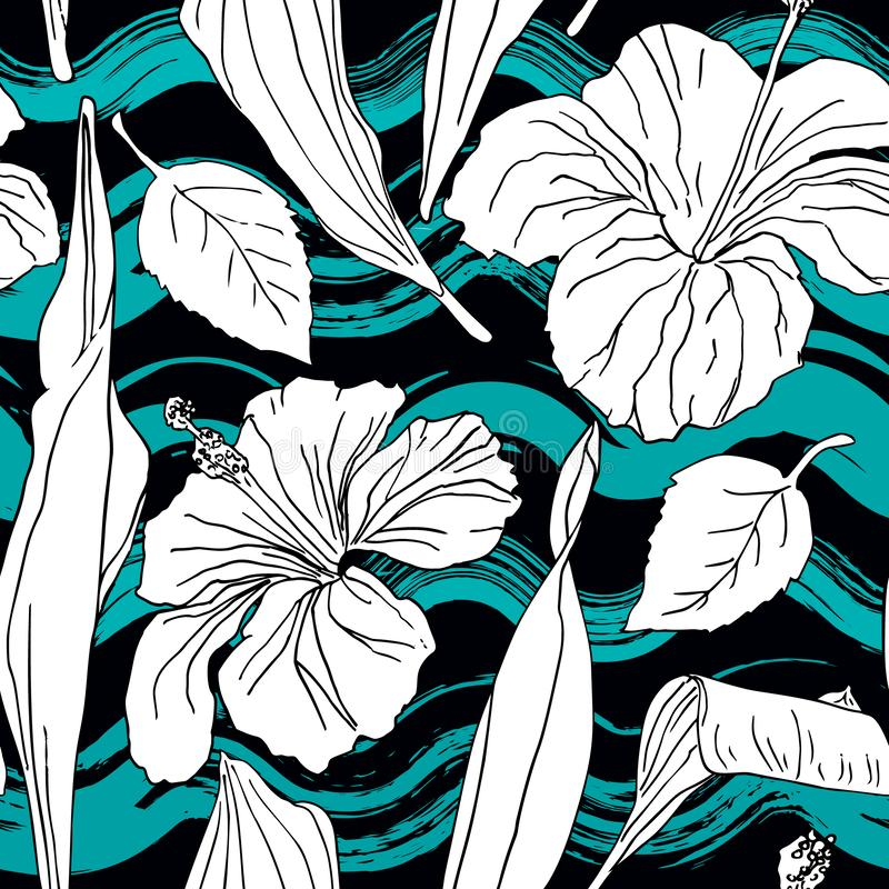 Abstract flowers seamless pattern royalty free illustration