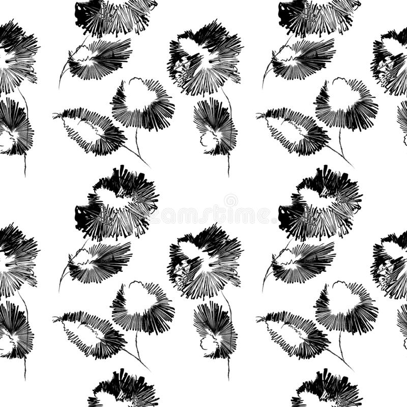 Abstract flowers seamless pattern. Vector background in black and white. Hand drawn style image stock illustration