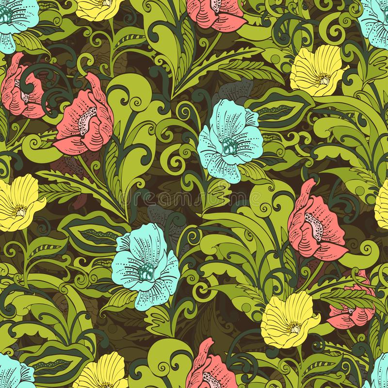 Abstract flowers seamless pattern, vector floral background, cartoon hand-drawn vector illustration