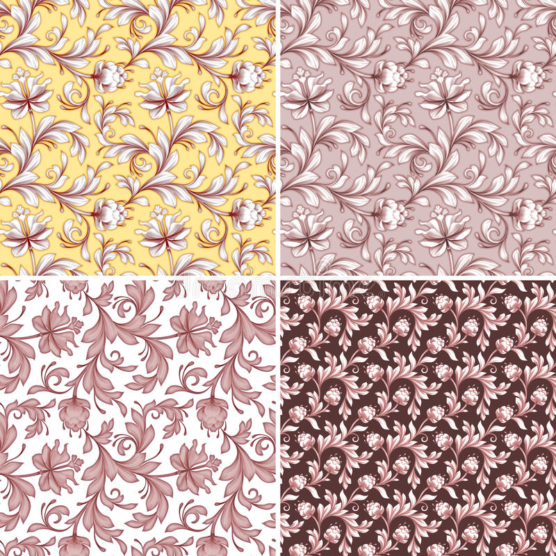 Abstract flowers seamless patterns, wedding lace backgrounds set. Abstract floral seamless patterns, wedding lace backgrounds set vector illustration