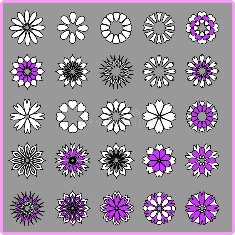 Abstract Flowers Set Stock Image