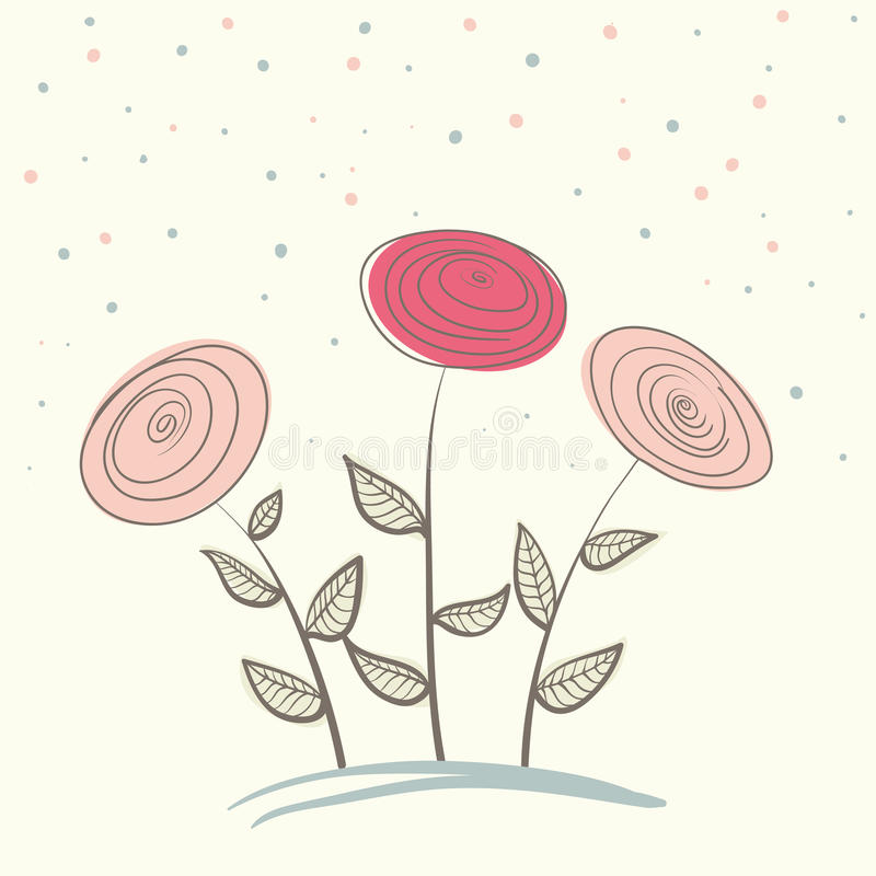 Abstract flowers on soft background vector illustration