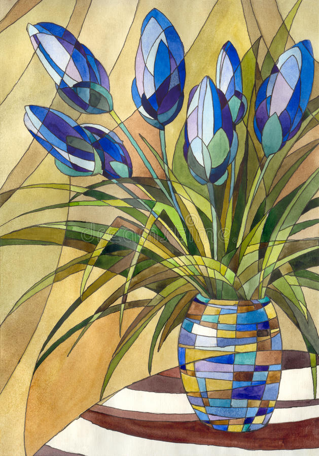 Abstract flowers in a vase. Decorative painting. Abstract flowers in a vase with geometric pattern vector illustration