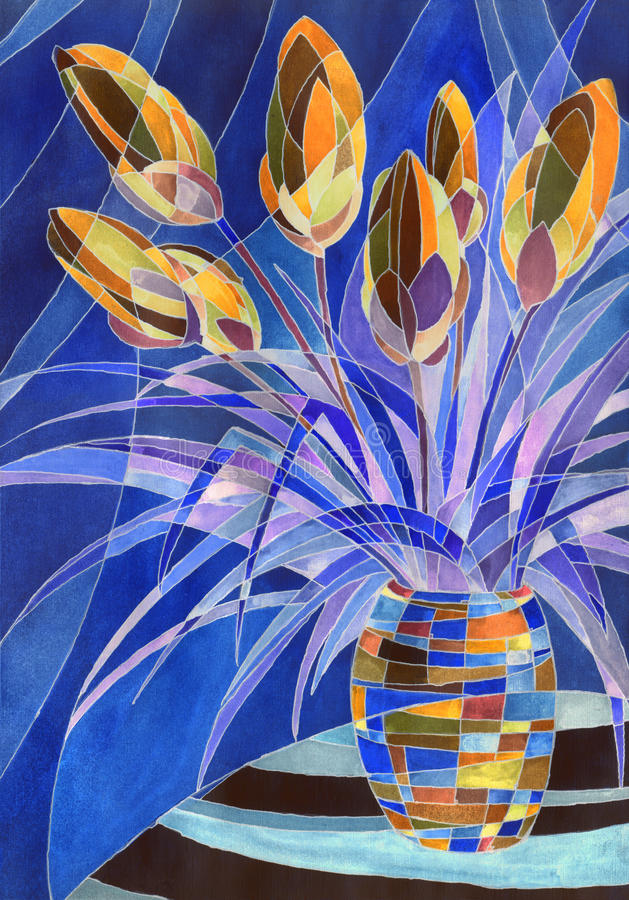Abstract flowers in a vase. Decorative gouache painting. Abstract terracotta flowers with purple leaves in a vase with geometric pattern on dark blue backdrop stock illustration
