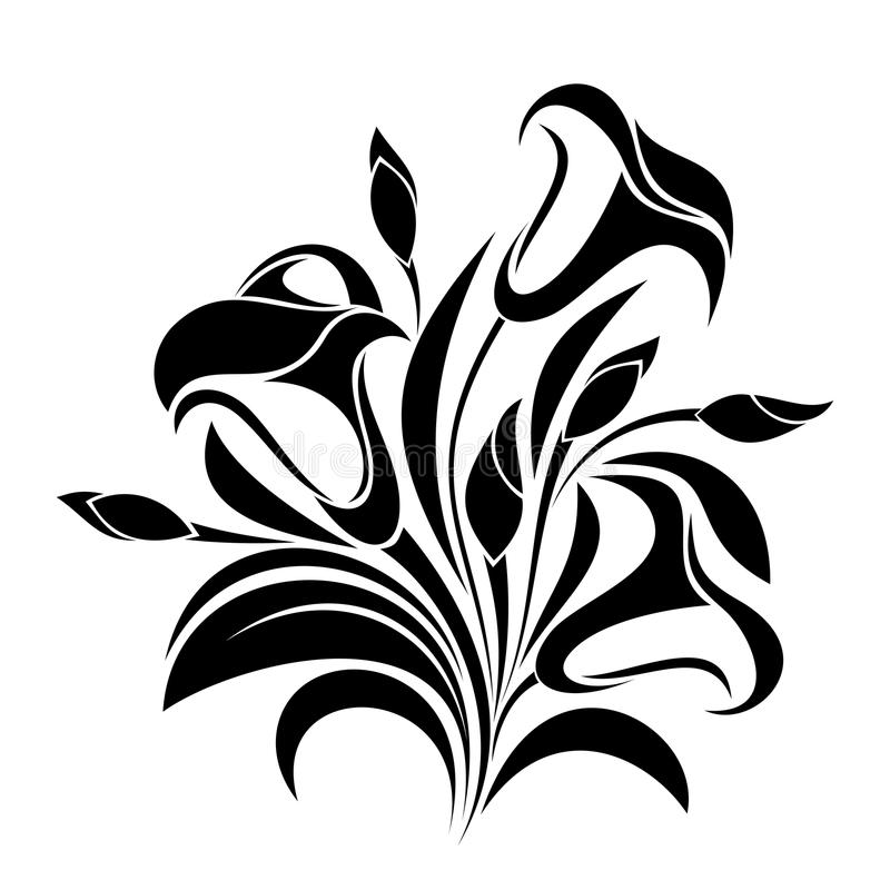 Abstract Flowers Vector Black Silhouette Stock Vector