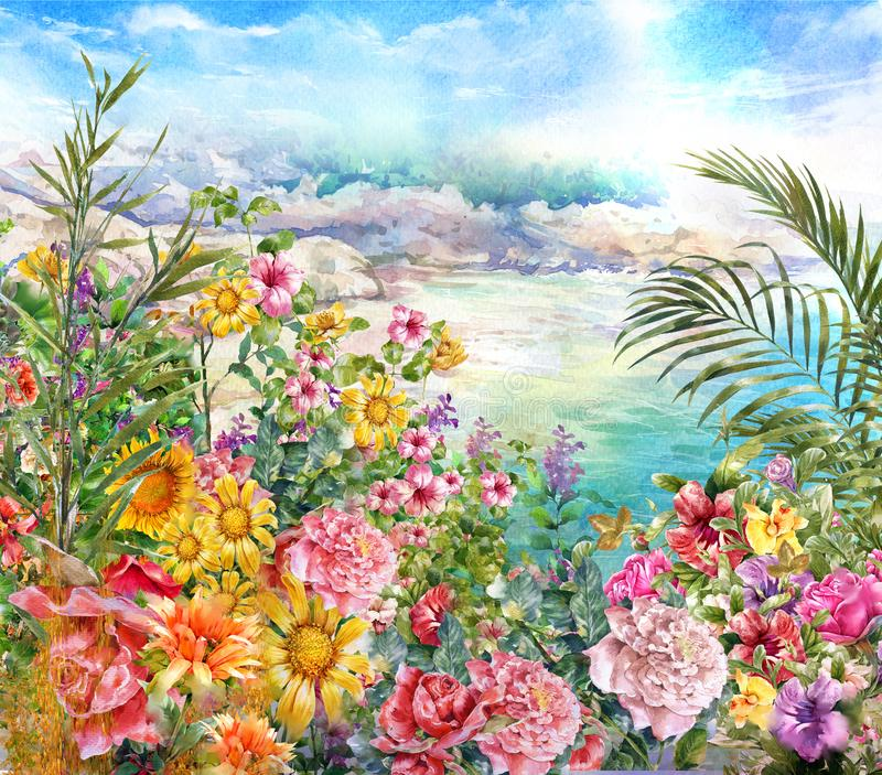 Abstract flowers watercolor painting stock photos
