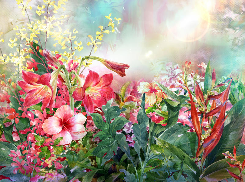 Abstract flowers watercolor painting. Spring multicolored royalty free illustration