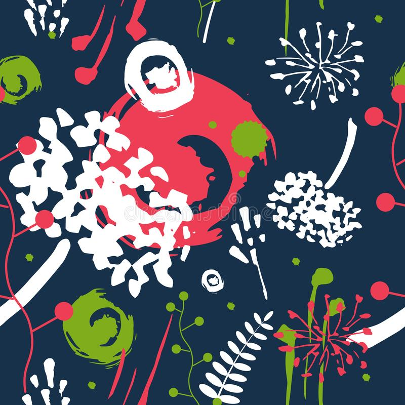 Abstract flowersand herbs. Vector seamless pattern. A print for fabric, packing paper, wall-paper, cards, etc stock illustration