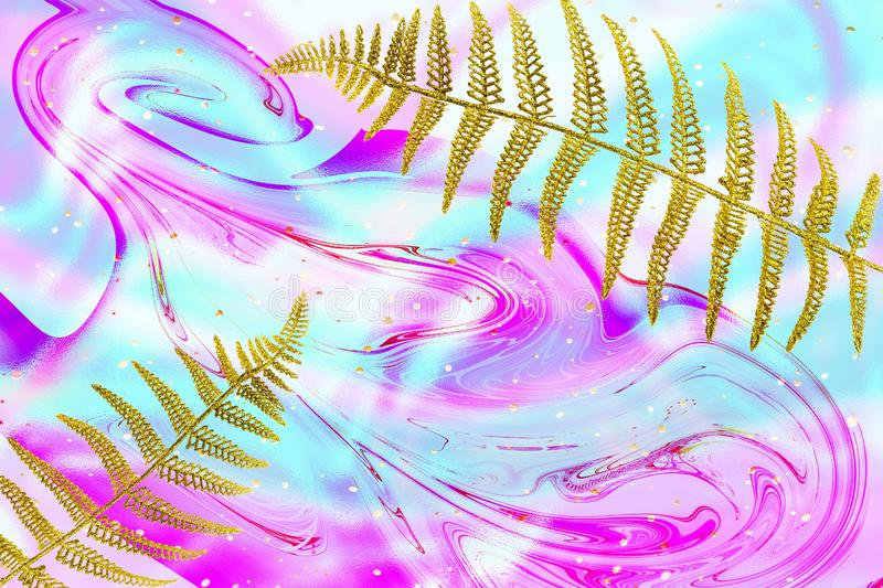 Abstract flowing Ink, gold fern leaf, palm frond on multicolored marble background. Trendy creative design stock image