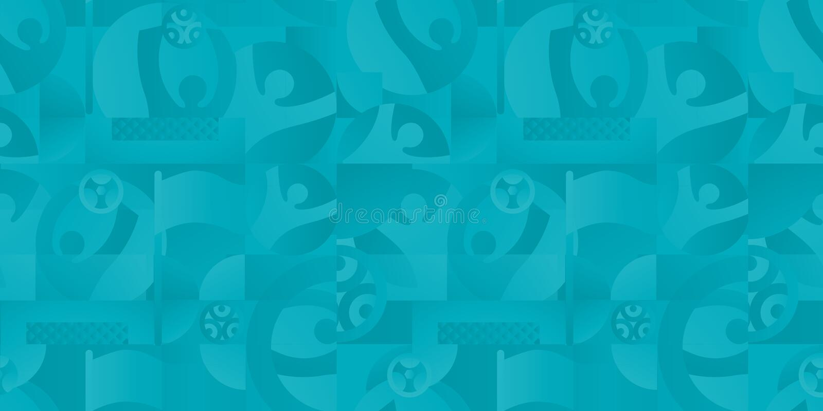 EURO 2020 UEFA European Championship Soccer Abstract football sports dynamic seamless background. Soccer European Championship. EURO 2020 Abstract Turquoise stock illustration