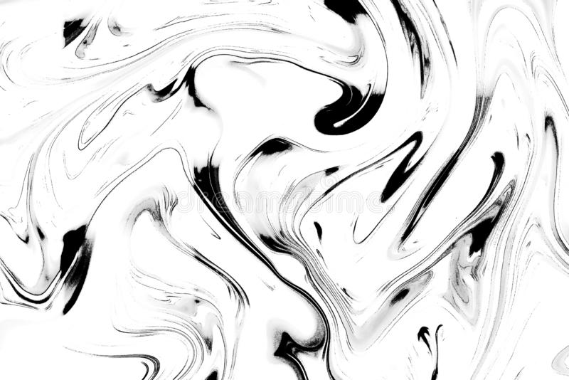 Abstract fluid pattern. Black and white painted background. Decorative marble texture royalty free stock photos