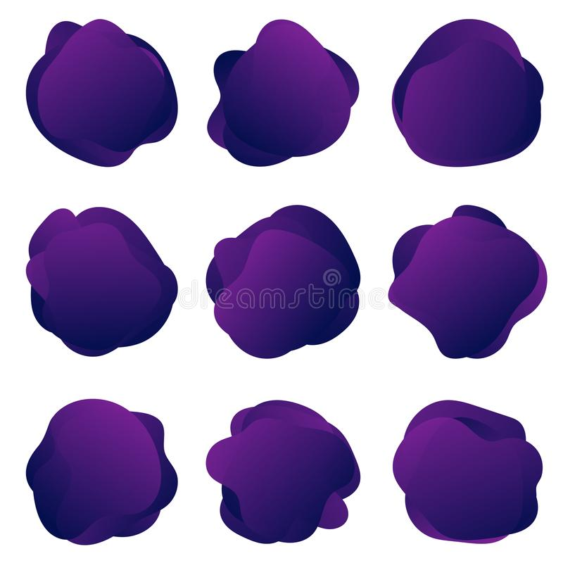 Abstract fluid purple shapes. Abstract round banners templates, organic liquid bubbles in trendy colors royalty free illustration