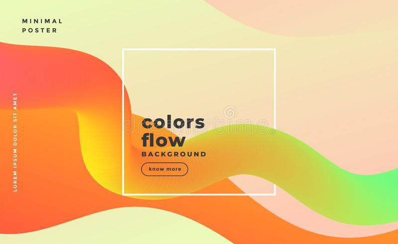 Abstract fluid wave motion background in warm colors royalty free illustration