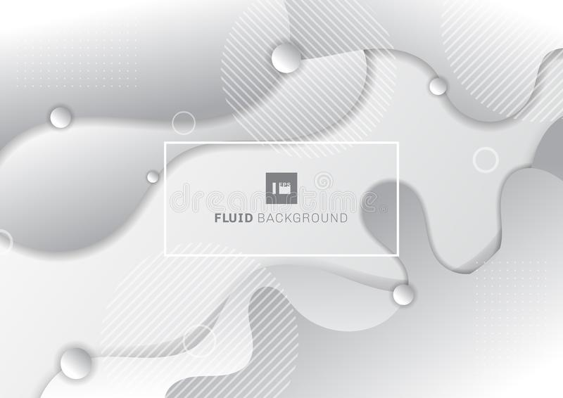 Abstract fluid white and gray background with circles geometric elements vector illustration