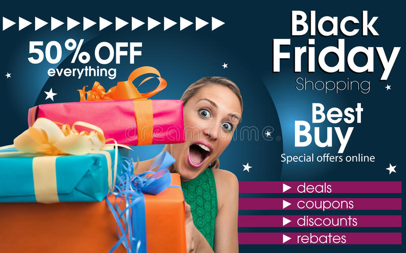 Abstract flyer for shopping on Black Friday trade. Generic Brochure design template inviting shopping on Black Friday trade. Abstract flyer for shopping on Black stock image