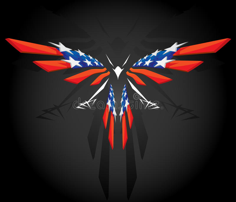 Abstract flying American flag stock illustration