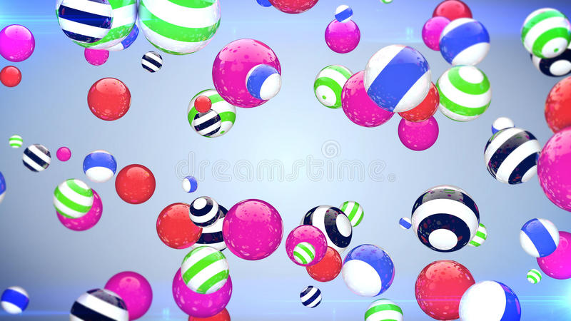 Abstract flying balls of different colours background. Abstract flying balls of different colours with a blue background royalty free illustration