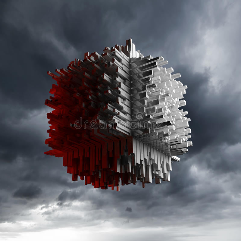 Abstract flying cube object with chaotic surface. Abstract flying cube object with chaotic extruded surface over dark cloudy sky, 3d illustration stock illustration