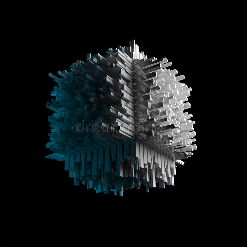 Abstract flying cubic object on black. Abstract flying cubic object with chaotic extruded surface on black, 3d illustration vector illustration