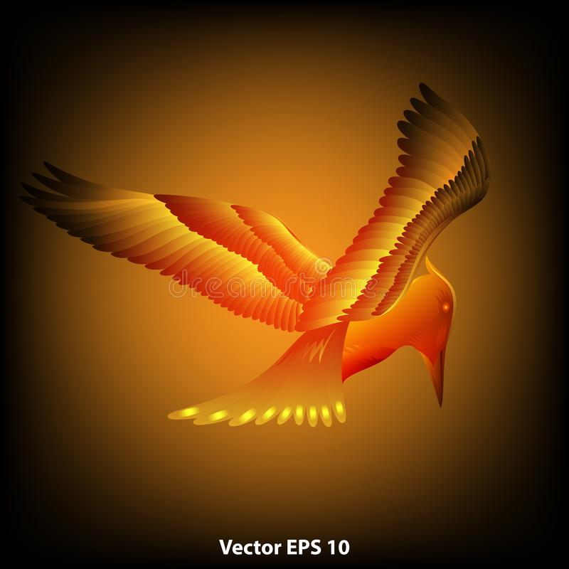 Abstract flying fire bird on a dark background. Vector illustration EPS 10 vector illustration