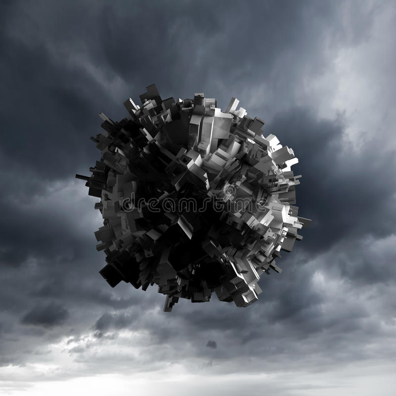 Abstract flying object with chaotic surface. Abstract flying spheric object with chaotic extruded surface over dark cloudy sky, 3d illustration royalty free illustration