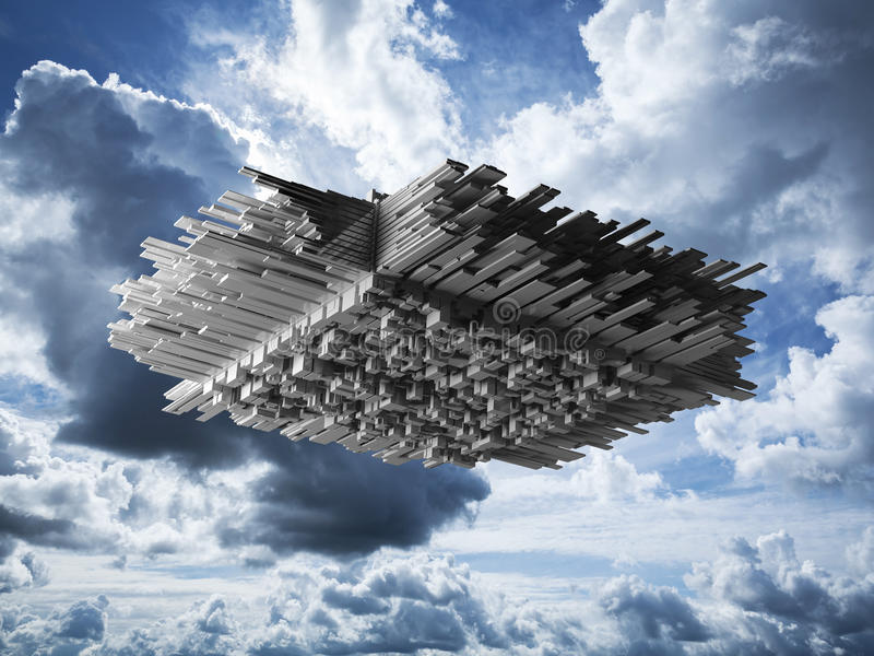 Abstract flying object in cloudy sky. Abstract flying object with chaotic extruded surface in cloudy sky, 3d illustration stock illustration